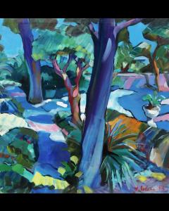 Claudio Malacarne, Giardino azzurro, olio su tela, 60x60 cm