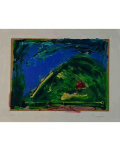 Mario Schifano, Astratto blu e verde, serigrafia, 70x75 cm