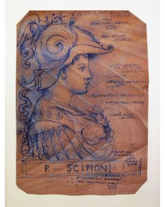 Giancarlo Prandelli, Publio Cornelio Scipione, inchiostro su cartoncino, 30.5x23.5cm
