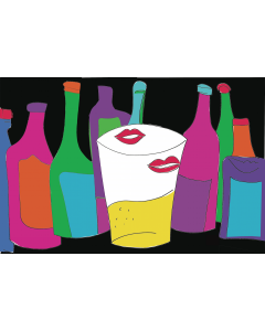 Fabrizio Sclavi, Meglio un solo Bicchiere, acrilico su carta, 70x100 cm