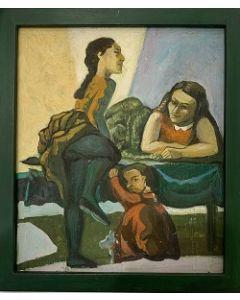 Scuola esistenzialista tedesca, Bambine, olio su tavola, 17x20 cm (20x23 cm con cornice)