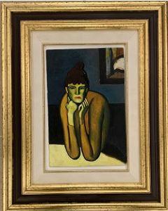 Scuola esistenzialista tedesca, Donna, Olio su tavola, 18x27,5 cm (40x50 cm con cornice)