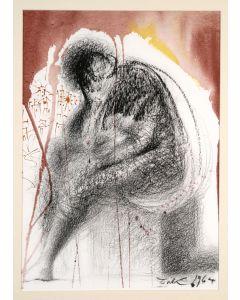Salvador Dalì, Sedet sola civitas plena populo, litografia, 50x39 cm, tratta da La Sacra Bibbia, 1967
