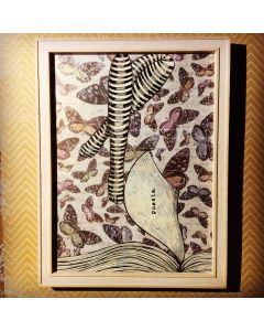 Aria Carelli, Poesia, inchiostro su carta, 20x26 cm (con cornice)