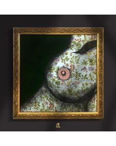 Aria Carelli, Seno primavera, acrilico e china su carta decorata, 22x22 cm (con cornice)