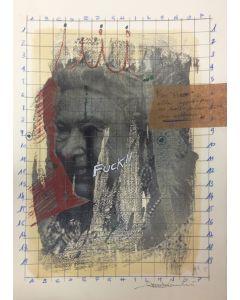 Enrico Pambianchi, The Queen, disegno e collage su carta, 25x36 cm, 2016