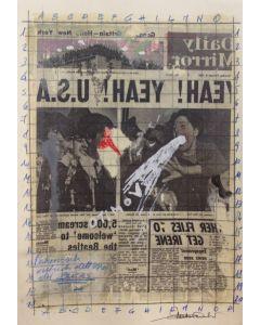 Enrico Pambianchi, Yeah!, disegno e collage su carta, 25x36 cm, 2016