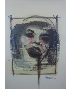 Enrico Pambianchi, Joker, disegno e collage su carta, 25x36 cm, 2016