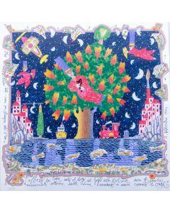 Francesco Musante, L'albero dei cuori, serigrafia materica, 50x50 cm