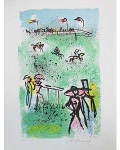 Franco Rognoni, All'ippodromo, serigrafia, 25x35 cm