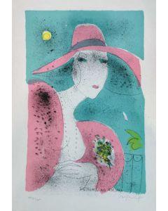Franco Rognoni, Signora ad Ascona, serigrafia, 50x35 cm