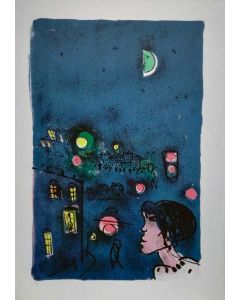Franco Rognoni, Donna alla finestra, serigrafia, 50x70 cm
