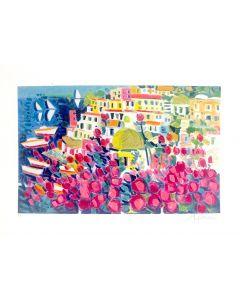 Athos Faccincani, Positano, serigrafia, 35x50 cm