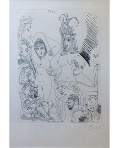 Pablo Picasso, Homme barbu songeant à une scène des Mille et une nuits, avec derrière lui des ancêtres réprobateurs, acquaforte, 54x43 cm