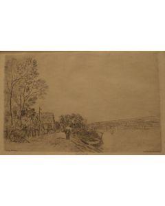 Alfred Sisley, Paysage Bords du Loing: la charrette, acquaforte e acquatinta, 30x32 cm