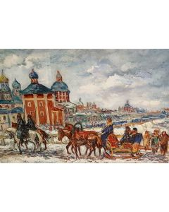 Giovan Francesco Gonzaga, Slitta in Russia, litografia su carta, 86x63 cm