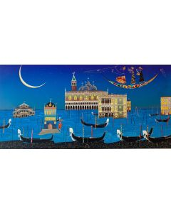 Meloniski da Villacidro, Sogno Veneziano, tecnica mista su tela, 200x100 cm