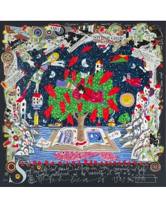 Francesco Musante, Sono salito sul grande albero di cuori, serigrafia materica, 50x50 cm