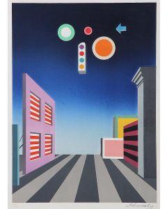 Xanti Schawinsky, La strada silenziosa, litografia, 66x45 cm, 1976