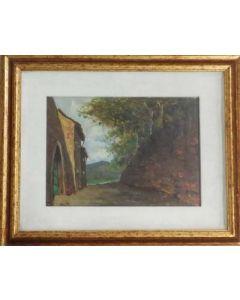 Angiolo Volpe, Stradina, olio su tela, 25x35 cm
