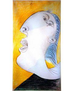 Pablo Picasso, Studio testa di donna per Guernica, Litografia, Margini 61x40 cm, Immagine 44,5 x23,5 cm
