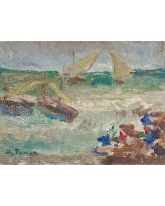 Daniela Penco, Sul mare, olio su cartone telato, 9x12 cm
