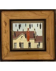 Scuola surrealista belga, Personaggi Magrittiani, olio su tavola, 18x20 cm (39x36 cm con cornice)