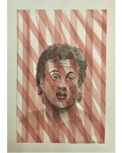 Oscar Morosini, Sylvester Stallone, acquarello su carta,  26x36cm