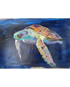 Claudio Malacarne, Tartaruga, olio su carta, 50x40 cm