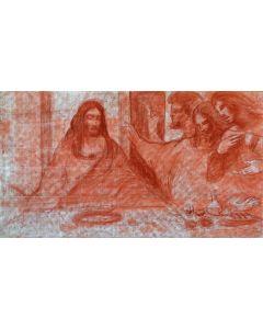 Giancarlo Prandelli, Cenacolo, sanguigna su tavola, 125x70cm (T1)