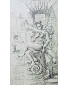 Giancarlo Prandelli, Leda ed il cigno, matita su tavola, 124x70 cm, (D297)