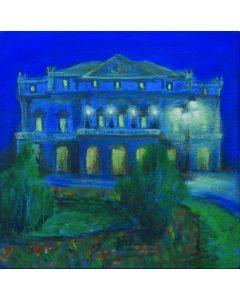 Andrea Ferrari Bordogna, Il teatro di sera, olio su tavola, 22x22 cm