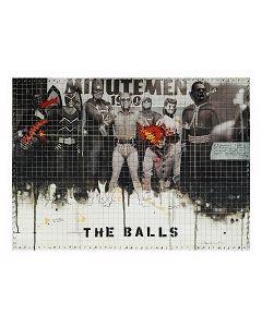 Enrico Pambianchi, The balls, collage, olio, acrilico, matite, gessetti, resine su tela, 50x40 cm