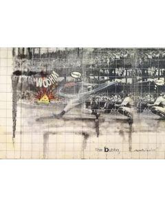 Enrico Pambianchi, The Bubba, collage, olio, resine, acrilico, matite e gessetti su tela, 30x20 cm