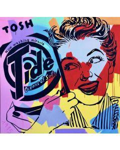 Andrew Tosh, Tide, tecnica mista su tela, 140x140 cm
