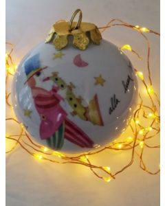 Francesco Musante, Serenata jazz alla luna sorridente , pallina di Natale in porcellana, h 7,5 cm