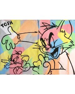 Andrew Tosh, Tom & Jerry, acrilico e smalto su carta, 48x66 cm