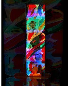 Carlo Massimo Franchi, Summa pittorica, olio su plexiglass opalino con illuminazione interna a led, 171x46x12,5 cm