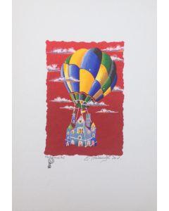 Meloniski da Villacidro, Trasloco, serigrafia e collage ritoccata a mano, 25x35 cm