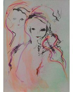 Ernesto Treccani, Il violino, misto su cartoncino, 50x70 cm, 1988