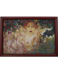 Scuola Francese, Mamma con bambino, olio su tavola, 29X19 cm (con cornice)