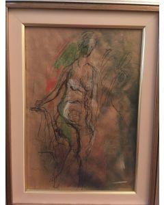 Ernesto Treccani, Nudo, mista su cartoncino, 24x35 cm