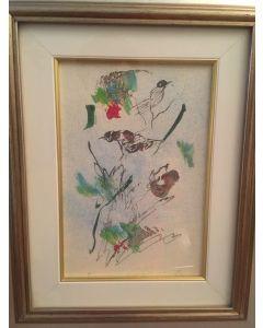 Ernesto Treccani, Uccellini, mista su cartoncino, 17x25cm