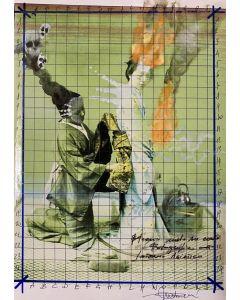 Enrico Pambianchi, Interno giapponese, collage, disegno e strappo su carta, 29,7x21 cm