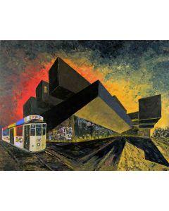 Pier Luca Bencini, Vecchio tram, acrilico su tavola, 70x90 cm