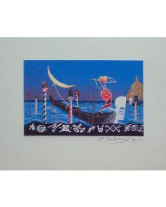 Meloniski da Villacidro, Venezia, serigrafia e collage ritoccata a mano, 20,5x25 cm