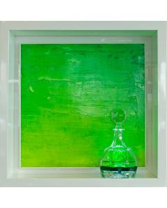 Andrea Morreale, Verde basilico (ben annaffiato), olio su tavola, cristallo, 2 dl di Creme de Menthe, illuminazione a led con controllo acustico, 63x63x15 cm