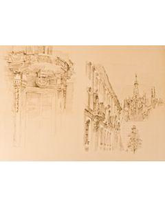 Natale Addamiano, Verso il Duomo, litografia, 44x63 cm