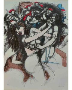 Renato Guttuso, Vespri siciliani, litografia, 70x54 cm