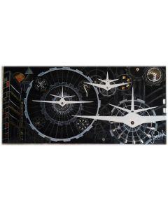 Simona Della Bella, Viaggio nel tempo, tecnica mista e applicazioni metalliche su tavola, 126x60 cm